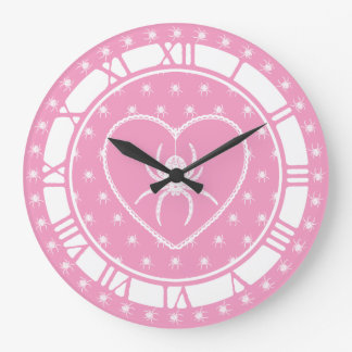 Pink And White Spider Heart Wall Clocks