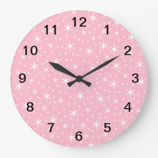 Pink and White Star Pattern. Large Clock