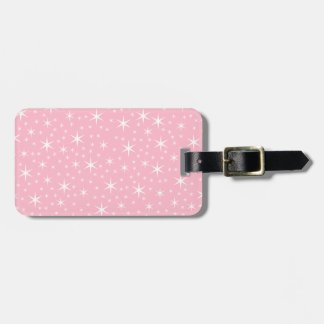 Pink and White Star Pattern. Luggage Tag
