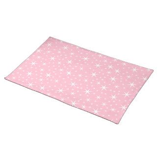 Pink and White Star Pattern. Placemat
