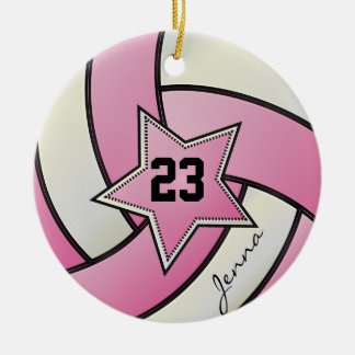 Pink and White Star Volleyball Round Ceramic Decoration