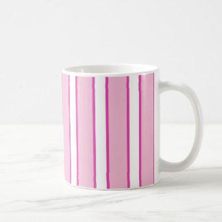 Pink and White Stripe Basic White Mug