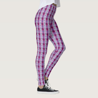Pink and White Stripe Pattern Leggings