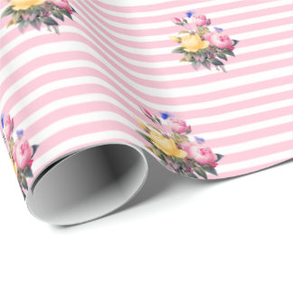Pink and White Stripe Shabby Floral Chic Gift Wrap