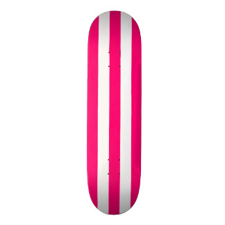 Pink and White Stripe Skateboard Deck