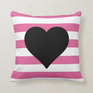 Pink and White Striped Black Heart Throw Pillow Cushions