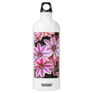 Pink and white striped clematis flowers SIGG traveler 1.0L water bottle