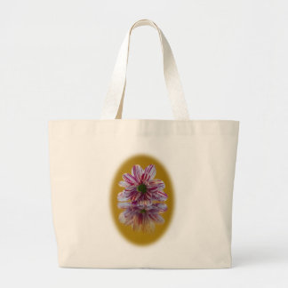 Pink and White Striped Daisy Gerbera Large Tote Bag