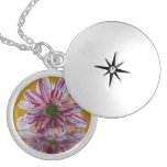 Pink and White Striped Daisy Gerbera Pendants