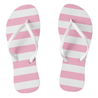Pink and White Striped Flip Flops