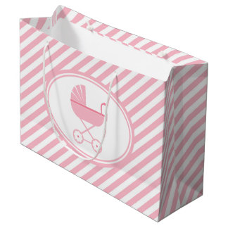 Pink and White Stripes Baby Shower Large Gift Bag