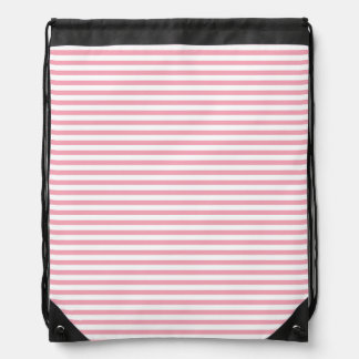 Pink and White Stripes Drawstring Backpack