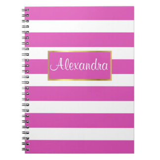 Pink and White Stripes Gold Border Notebook