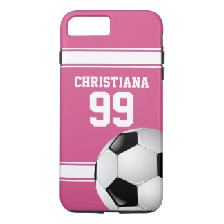 Pink and White Stripes Jersey Soccer Ball iPhone 8 Plus/7 Plus Case