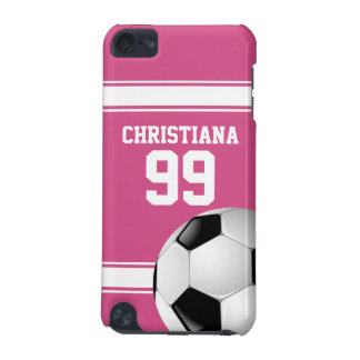 Pink and White Stripes Jersey Soccer Ball iPod Touch (5th Generation) Case