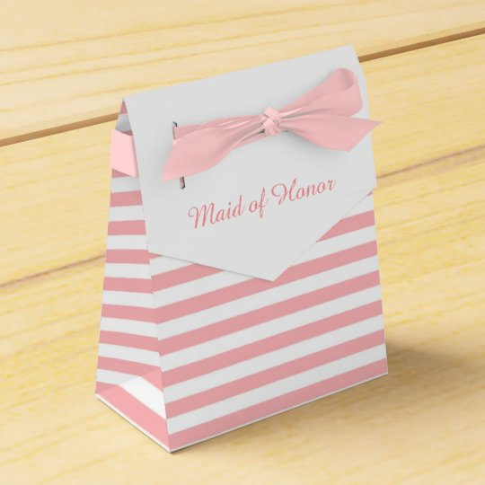 Pink and White Stripes Personalised Wedding Favour Favour Box