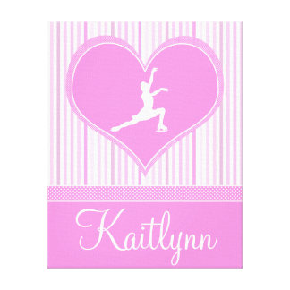 Pink and White Stripes / Polka-Dots Figure Skater Gallery Wrap Canvas