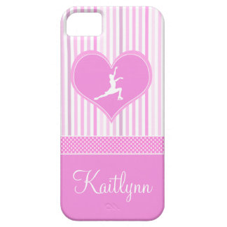 Pink and White Stripes / Polka-Dots Figure Skater iPhone 5 Case