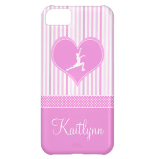 Pink and White Stripes / Polka-Dots Figure Skater iPhone 5C Case