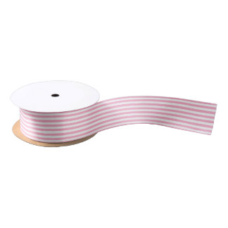 Pink and White Stripes Satin Ribbon