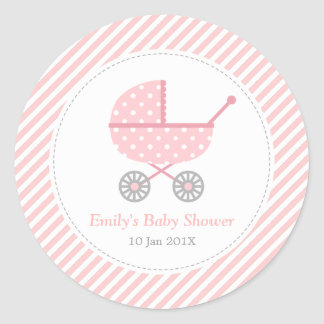 Pink and White Stripes, Stroller, Baby Girl Shower Round Sticker