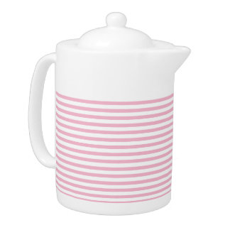 Pink and white stripes - Teapot
