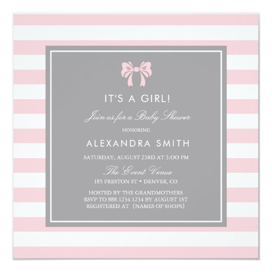 Pink and White Stripes with Bow Baby Shower