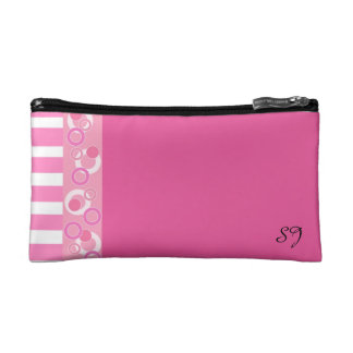 Pink and White Stripes With Initials Cosmetics Bags