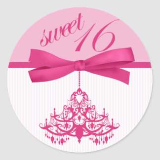Pink and White Sweet Sixteen Chandelier Stickers