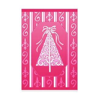 Pink And White Swirls Stripes Christmas Tree Stretched Canvas Print