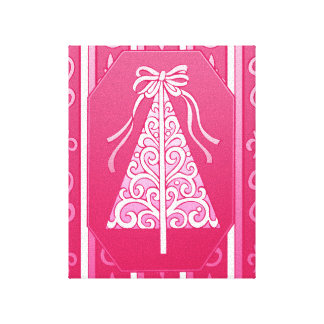 Pink And White Swirls Stripes Christmas Tree Gallery Wrap Canvas