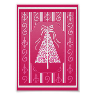 Pink And White Swirls Stripes Christmas Tree Posters