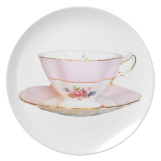 Pink and White Tea Cup with Roses Plate