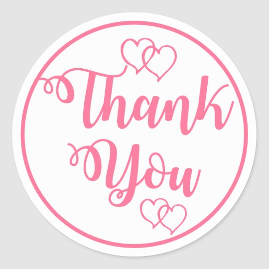 Pink and White Thank You Hearts Wedding Party Classic Round Sticker
