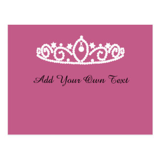 Pink and White Tiara Custom Birthday Party Invite Postcard