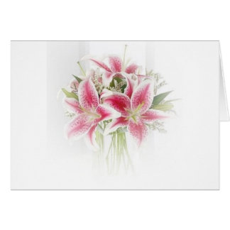 pink and white tiger lilies greeting card