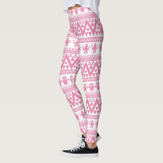 Pink and white tribal pattern leggings