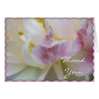 Pink and White Tulip Flower Blossom Thank You Card