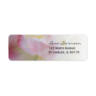 Pink and White Tulip Flower Return Address Return Address Label