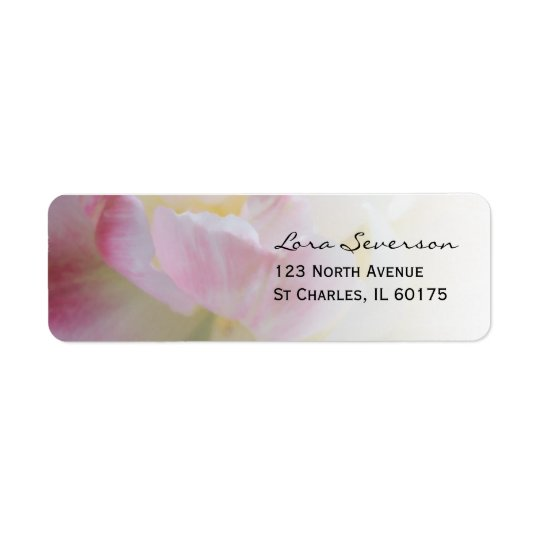 Pink and White Tulip Flower Return Address Return Address Label
