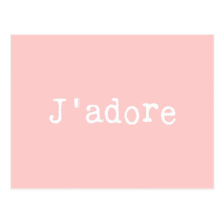 Pink and White Typewritten J'adore Postcard