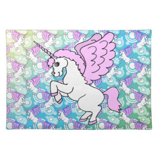 Pink and White Unicorn Graphic Placemat