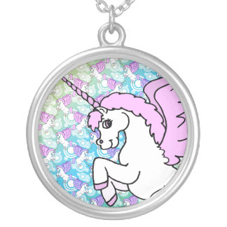 Pink and White Unicorn Graphic Silver Plated Necklace