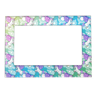 Pink and White Unicorn Pattern Design Magnetic Picture Frame