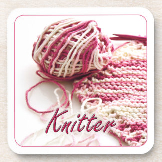 Pink and White Variegated Knitter Coaster
