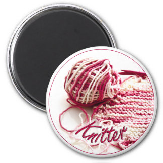 Pink and White Variegated Knitter Magnet