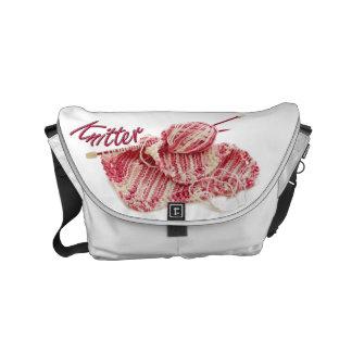 Pink and White Variegated Knitter Messenger Bag