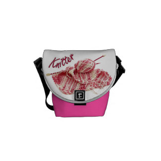 """Pink and White Variegated """"Knitter"""" Photo Courier Bags"""