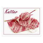 Pink and White Variegated Knitter Postcard