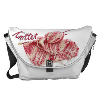 Pink and White Variegated Yarn Knitter Commuter Bags